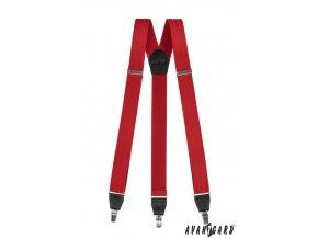 Luxusní šle Y na klipy - v dárkovém balení 876-1223 Červená (Barva Červená, Velikost uni, Materiál 80% polyester, 10% polyamid a 10% elastan)