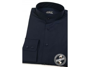 Pánská košile se stojáčkem SLIM dl.rukáv 152-31 Modrá (Barva Modrá 7f581f4db2