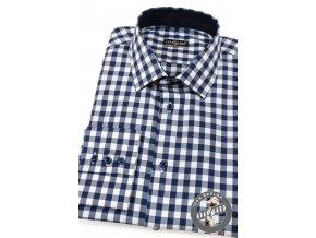 Modrá kostkovaná pánská SLIM FIT košile, dl. rukáv, 109-8888