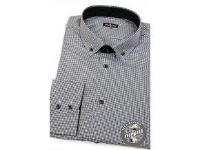 Pánská košile SLIM s dlouhým rukávem 131-2301 Černo-bílá (Barva Černo-bílá, Velikost 43/182, Materiál 100% bavlna)