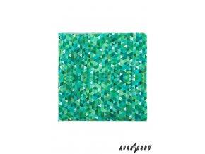 Zelený kapesníček s mozaikovým vzorem