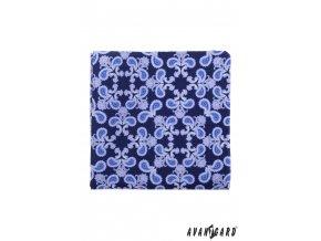 Velmi tmavě modrý kapesníček s modrým vzorem