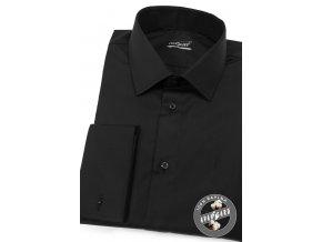 Černá SLIM FIT košile na manžetové knoflíčky, 122-23