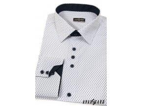 Bílá SLIM FIT košile se vzorem, dl. rukáv, 125-0163