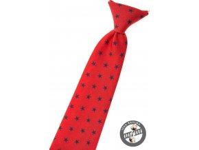 Červená chlapecká kravata s hvězdičkami
