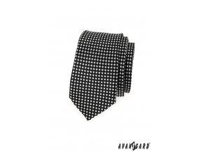 Černá slim kravata s bílým vzorem_