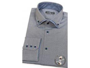 Šedá pánská SLIM FIT košile, dl. rukáv, 130-2215
