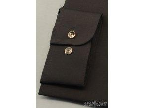Černá pánská košile se stojáčkem na 2 knoflíky, dl. rukáv, 452-23 V23