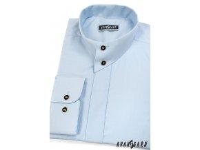 Modrá pánská košile se stojáčkem na 2 knoflíky, dl.rukáv, 452-15_