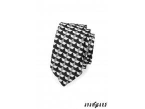 Černá slim kravata s trojrozměrným bílým vzorem