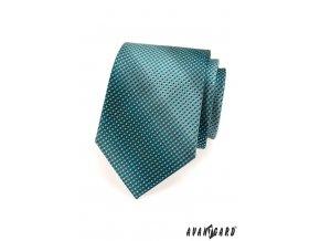 Tyrkysová kravata se světle zeleným detailem_