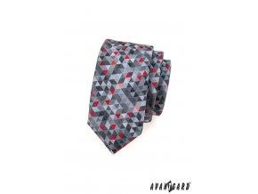 Šedá slim kravata s mozaikovým červeným vzorem