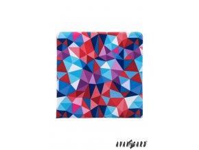 Červený kapesníček se světle modrým mozaikovým vzorem