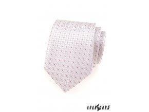 Velmi světle růžová kravata s růžovým kostičkovaným vzorem_