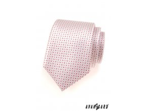 Lososová kravata s růžovými tečkami_