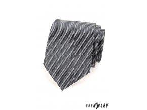 Grafitová kravata s jemným trojrozměrným vzorem_