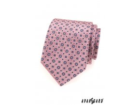 Růžová kravata s modrým jemným vzorem_