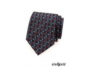 Grafitová kravata s červenobílým vzorem_