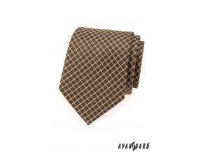Hnědá kravata se světlými proužky v mřížce_