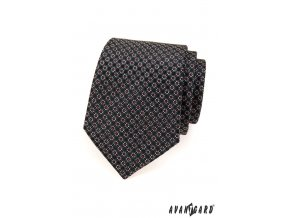 Tmavě grafitová kravata s jemný červenobílým vzorem_