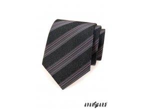 Tmavě grafitová kravata s jemnými růžovými proužky_