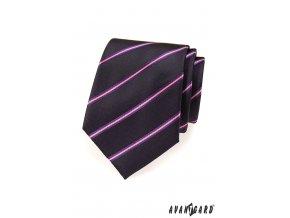 Velmi tmavě fialová kravata s šikmými růžovými proužky