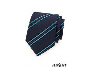 Tmavě modrá kravata se šikmými modrými proužky