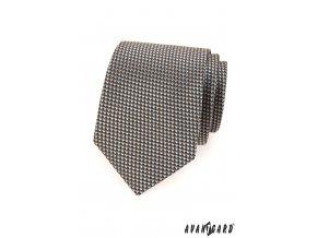 Hnědá kravata s jemným modrým vzorem_