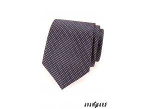 Tmavě šedá kravata s jemným růžovým vzorem_