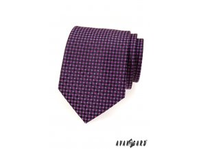 Tmavě fialová kravata se zajímavým mřížkovým vzorem