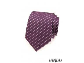 Fialová luxusní kravata s bílými proužky