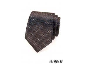Hnědá kravata s jemnými světlými tečkami_