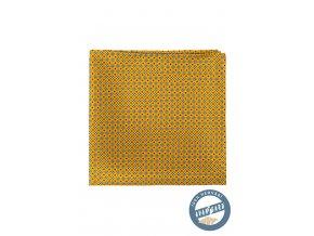Okrový hedvábný kapesníček se vzorem