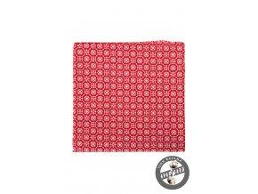 Červený bavlněný kapesníček s bílým vzorem_