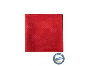 Červený hedvábný kapesníček s malými bílými tečkami_