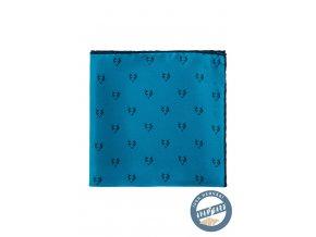 Modrý hedvábný kapesníček s vlčím vzorem_