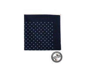 Velmi tmavě modrý bavlněný kapesníček se světle modrým vzorem_