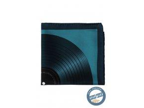 Tmavě modrý hedvábný kapesníček se vzorem gramofonové desky