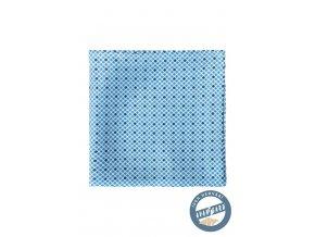 Světle modrý hedvábný kapesníček s drobným vzorem
