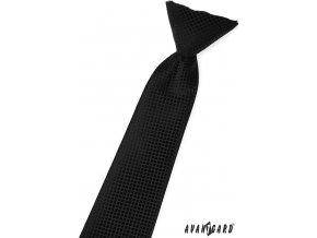 Černá dětská kravata s mřížkou stejné barvy_