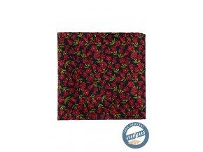 Černý kapesníček s červenými květy