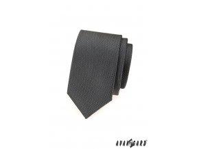 Grafitová slim kravata se zajímavým drobným vzorem_