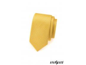 Žlutá slim kravata se vzorem stejné barvy
