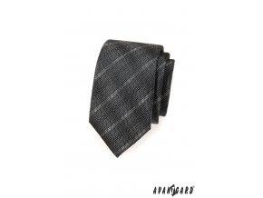 Grafitová slim nenápadně károvaná kravata_