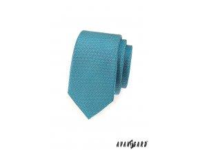 Tyrkysová vzorovaná slim kravata_