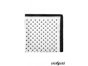 Bílý kapesníček s černým okrajem a puntíky_