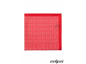 Červený kapesníček s jemným bílým vzorem
