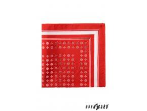 Červený kapesníček do saka s bílým vzorem a pruhem na okraji