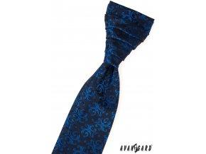 Tmavě modrá pánská regata se zářivě modrým vzorem + kapesníček do saka