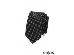 Černá slim kravata s jemným bílým vzorem_